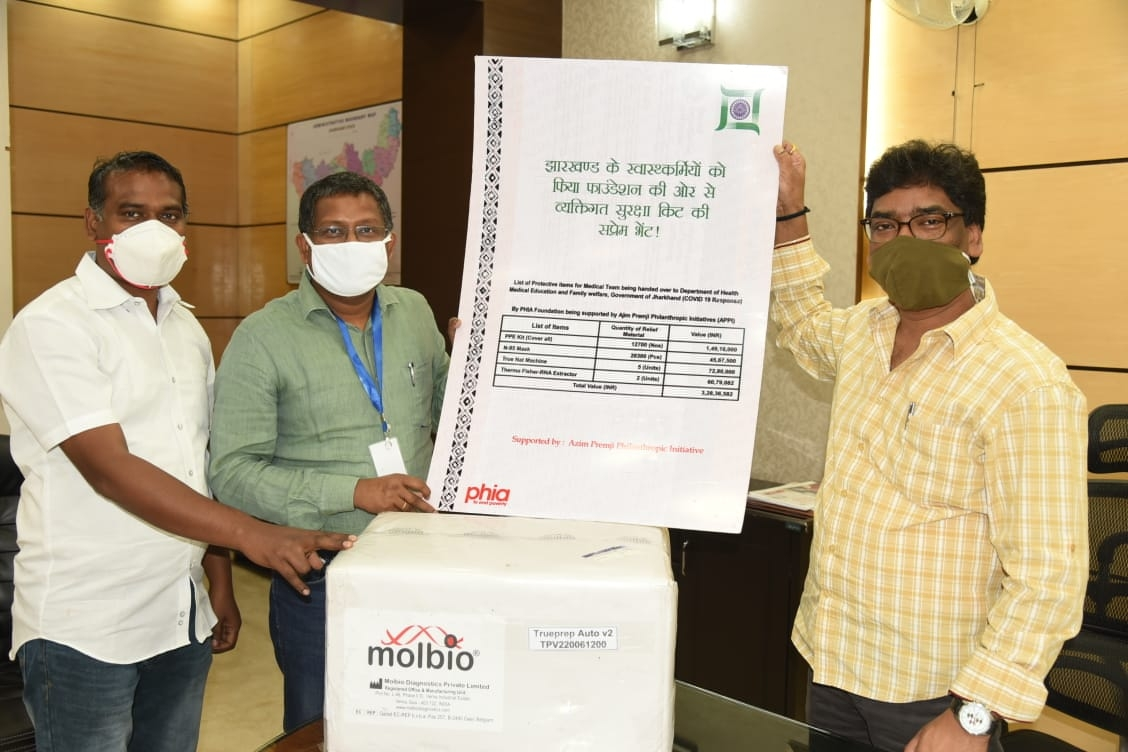 <p>As a support to the State Government to fight the spread of COVID-19,the Azeem Prem Ji Foundation handed over 12,700 PPE kits, 20,300 N-95 masks, 5 True Net machines and 2 Thermo…